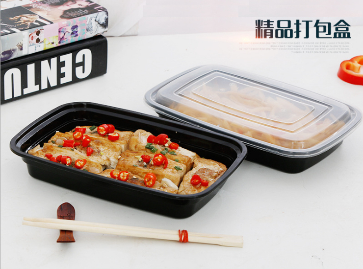 (Box / 150 Set) 750ml American One-Time-Use Meal Box Rectangular Black Plastic Takeaway Packaged Lunch Salad Box (Door Delivery Included)