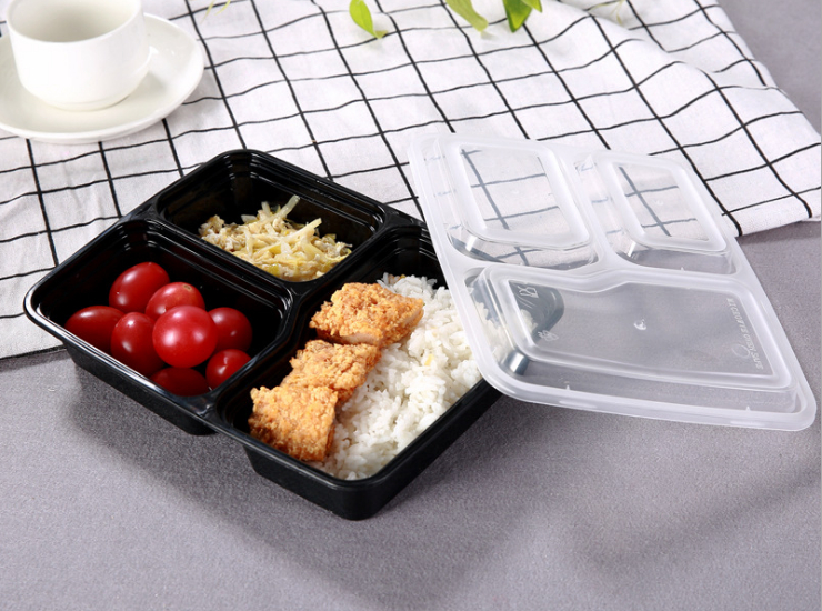 (Box / 150 Sets) Disposable Lunch Box Plastic Fast Food Box American Bento Box Meal Black American Takeaway Environmentally Friendly Meal Box Microwave (Door Delivery Included)