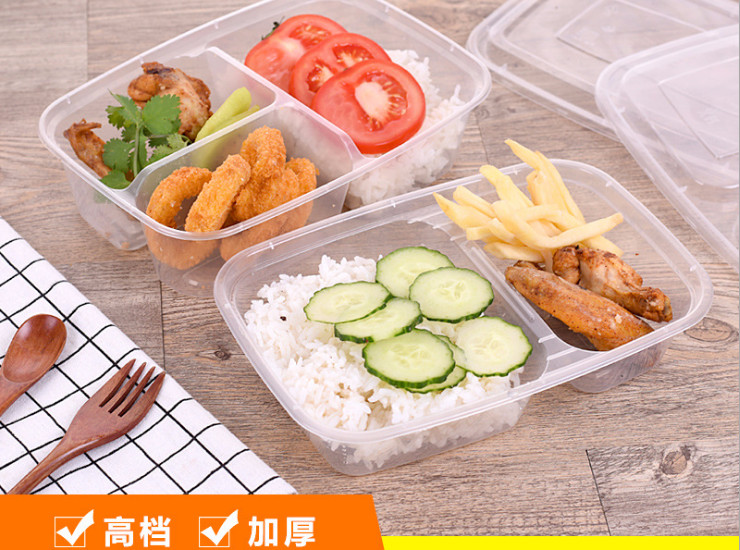 (Box / 150 Sets) Thickened Three Points Grid Two High-End Take-Out Lunch Boxes Lunch Pack Box