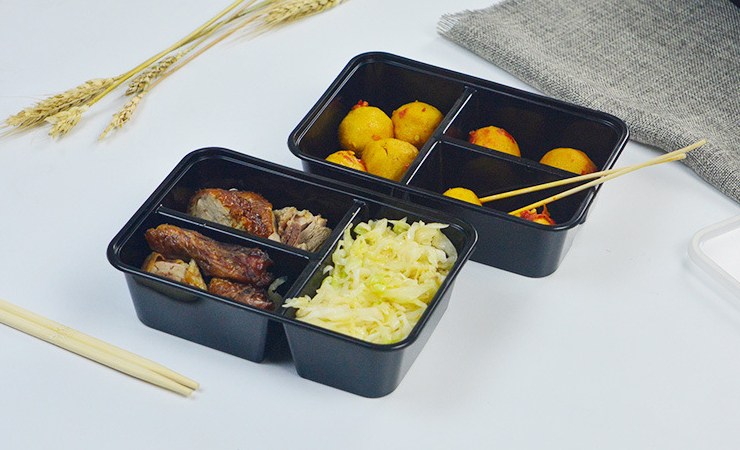 (Box / 300 Set) One-Time-Use 600ml Meal Box Rectangular Small Three-Grid Black Plastic Takeout Packaged Lunch (Door Delivery Included)