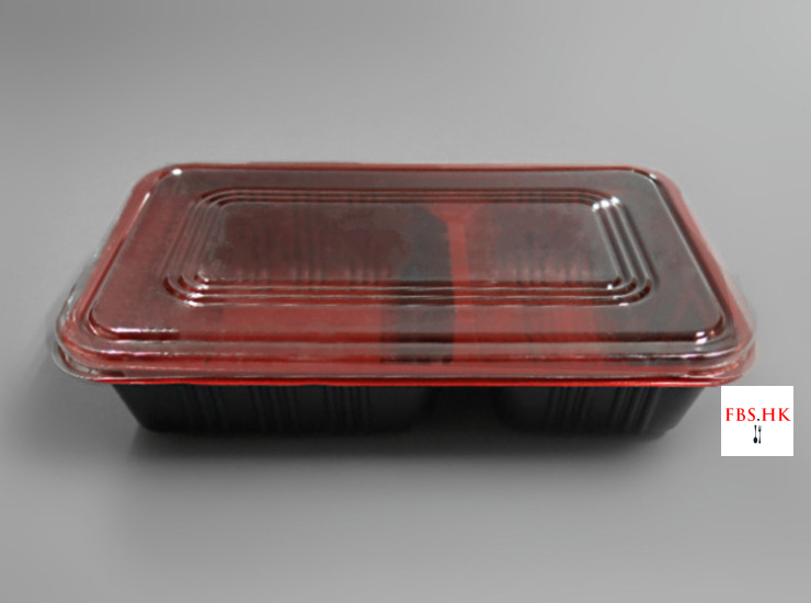 (Box / 500 Sets) Red And Black Double Lunch Box Disposable Red And Black Lunch Box Wholesale 2 Grid Environmentally Friendly Lunch Box 800-1000Ml (Door Delivery Included)
