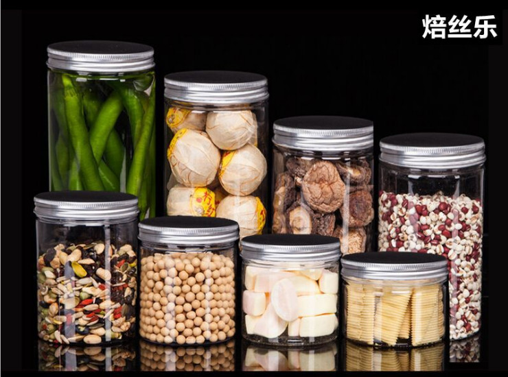 (Box) Aluminum Cover Plastic Jar Food Grade Pet Transparent Sealed Plastic Bottle Flower Tea Biscuit Honey Candy Food Can (Door Delivery Included)