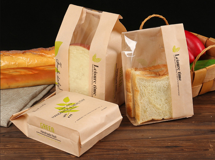 (Box) Baking Slices Toast Puffs Biscuits Transparent Open Window Leaching Western-Style Snacks Anti-Oil Kraft Paper Bags (Door Delivery Included)