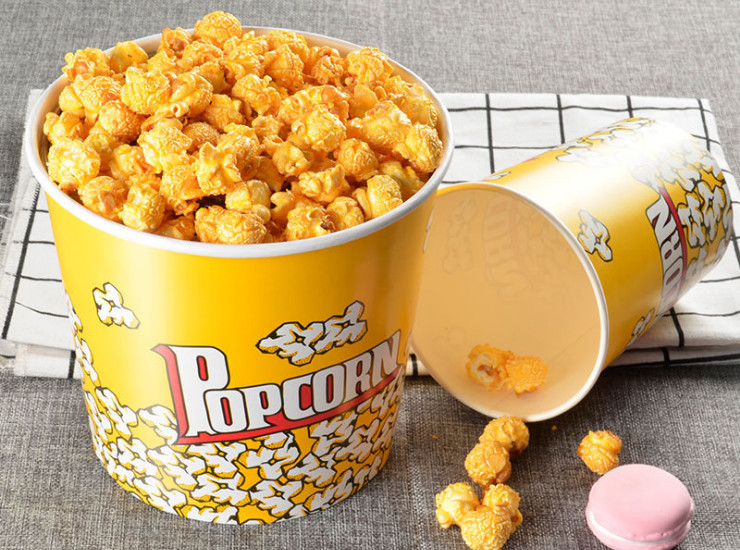 (Box) Barreled Disposable Popcorn Bucket Color Food Grade Fried Chicken Popcorn Paper Bucket 32/46/64/85/An Thickened Paper Tube (Door Delivery Included)