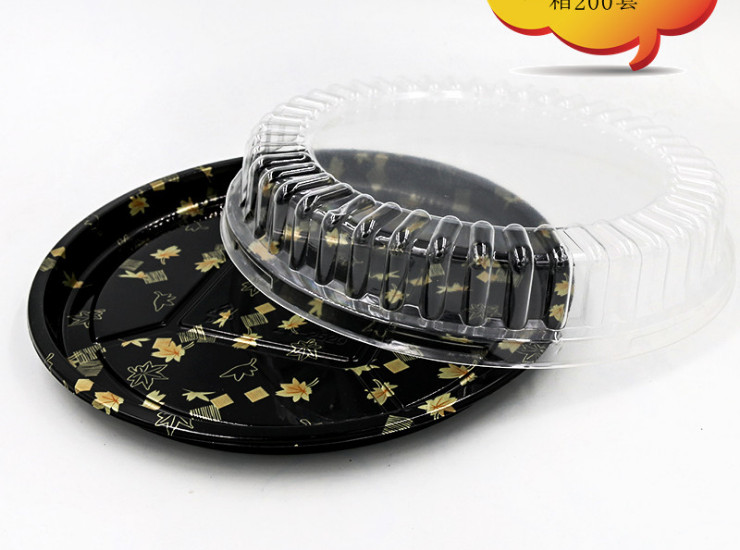 (Box) Disc Sushi Packing Box Upscale Japanese Print Disposable Sushi Takeaway Package (Door Delivery Included)