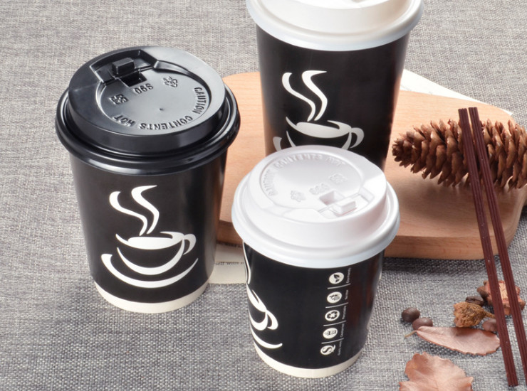 (Box) Disposable Coffee Paper Cup Double Thickened Black Tea Cup Insulated Take-Out Packaging Paper Cup (Door Delivery Included)
