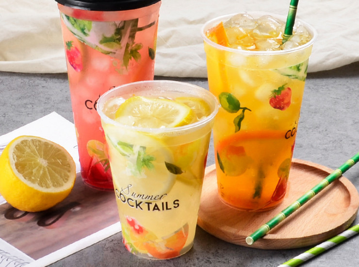 (Box) Disposable Creative Fruit Pattern Thick Transparent Plastic Cup Juice Beverage Injection Cup (Door Delivery Included)