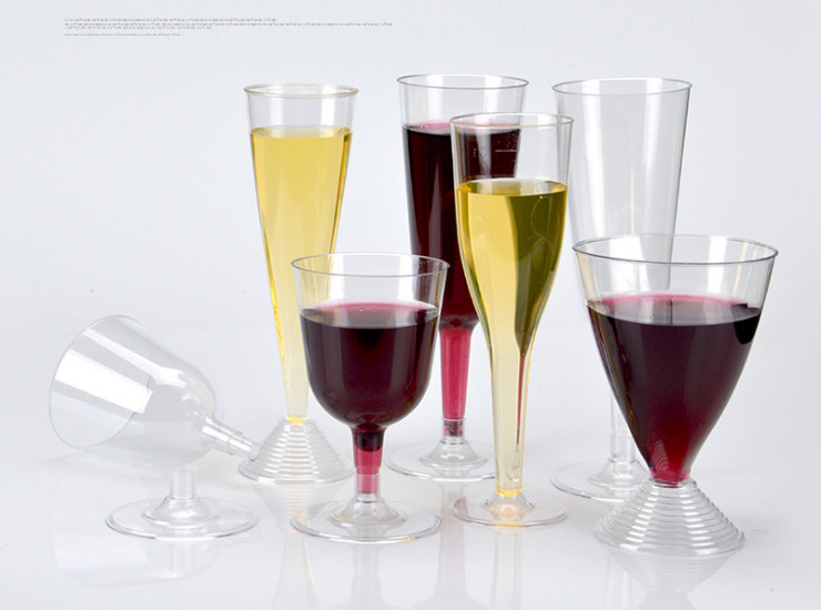 (Box) Disposable Cup Transparent Goblet Ps Hard Plastic Wine Red Wine Champagne Glass Party Plastic Cup (Door Delivery Included)