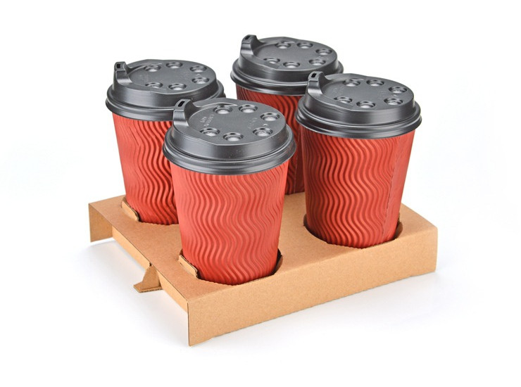 (Box) Disposable Kraft Paper Cup Holder Coffee Milk Tea Take-Out Tray Thicken Two Or Four Cups Packed Paper Cup Holder Cup Holder Plastic Cup Holder (Door Delivery Included)