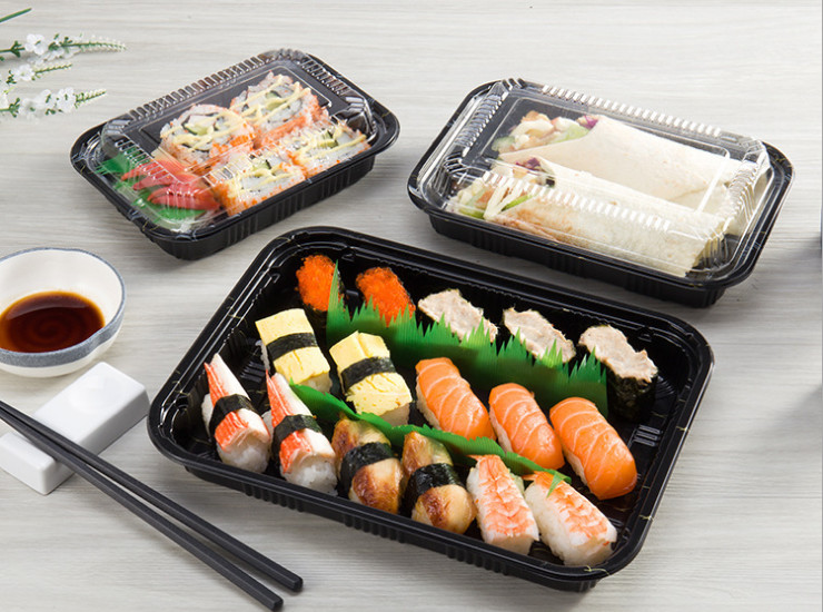 (Box) Disposable Plastic Ps Japanese-Style Lunch Box Rectangular Sushi Boxed Lunch Box Cutlery (Door Delivery Included)