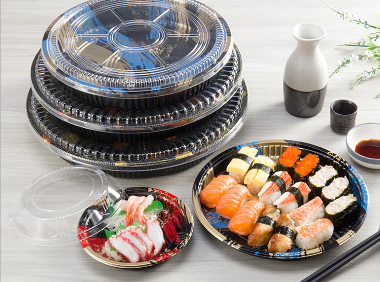 (Box) Disposable Plastic Round Sushi Box Light Section Printing Sushi Box Ps High-End Takeaway Sushi Packing Box (Door Delivery Included)