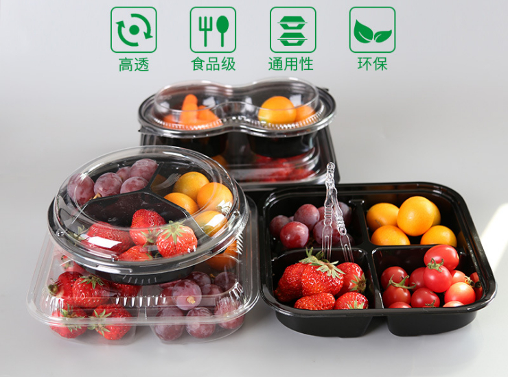 (Box) Disposable Plastic Transparent Fruit Plate Fresh Fruit Cut Box Fruit Fishing Box Round Salad Platter Fruit Box (Door Delivery Included)