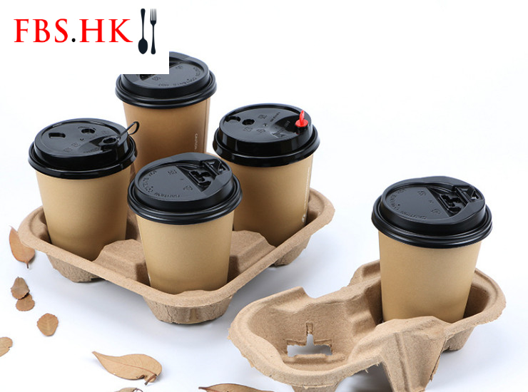 (Box) Disposable Pulp Cup Holder Two Cup Takeaway Cup Holder Coffee Milk Tea Pack Pulp Pallet Environmentally Degradable Four Cup Holder Cup Holder (Door Delivery Included)