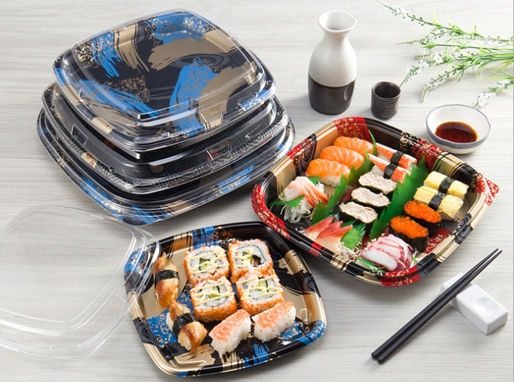 (Box) Disposable Square Black Printing Sushi Box Plastic Sushi Takeaway Box Light Disposable Lunch Box (Door Delivery Included)