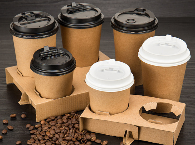 (Box) Disposable Take-Away Paper Cup Thickened Cup Holder Portable Cup Holder Cup Paper Cup Holder Universal Cup Holder (Door Delivery Included)