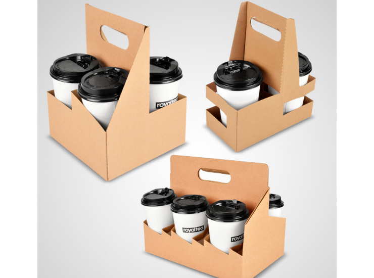 (Box) Disposable Tote Cup Holder Two Grid Four Grid Six Kraft Paper Milk Tea Coffee Beverage Package Cup Holder Cup Holder (Door Delivery Included)