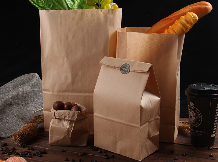 (Box) Lin Mo Anti-Oil Paper Bag Food Grade Kraft Paper Bag Square End Take-Away Packaging Paper Bag Fried Food Bags (Door Delivery Included)