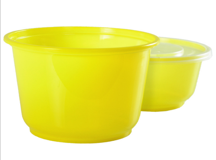 (Box Of 600 Sets) One-Time-Use Multiple Colors Lunch Box Round Plastic Color Fast Food Bowl Salad Bowl Takeout Box Lunch Box With Lid (Door Delivery Included)