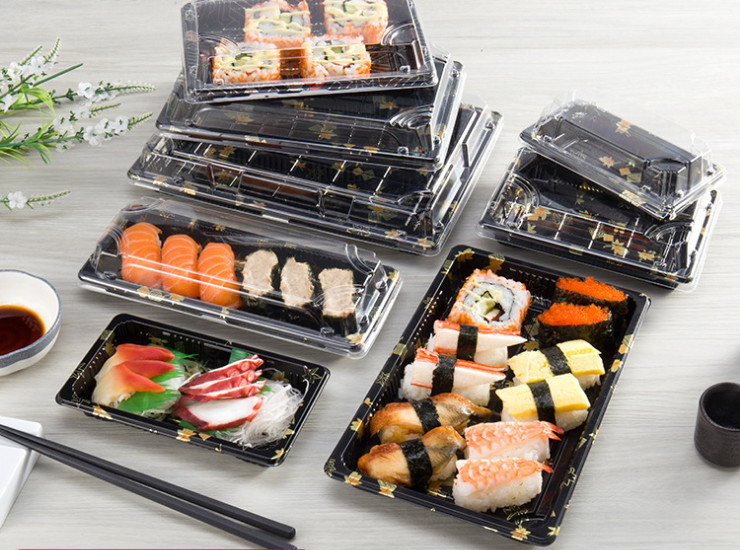(Box) One-Time Sushi Packing Box Environmentally Friendly Transparent Plastic Square Lunchbox Sushi Box Wholesale (Door Delivery Included)