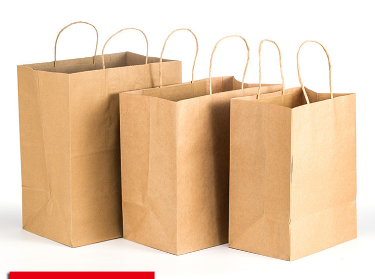 (Box) Packaging Paper Bag One-Time Gift Cattle Paper Bag Leather Hand-Pull Flat Bag Food (Door Delivery Included)