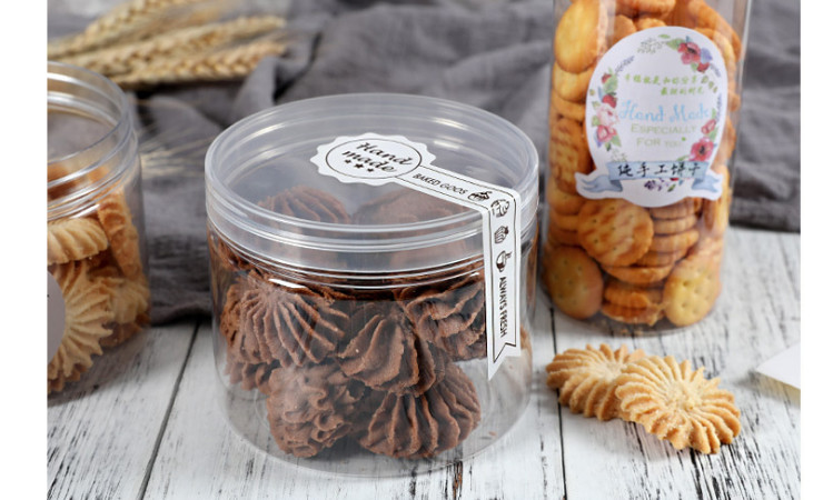 (Box) Pet Transparent Screw Cap Plastic Biscuit Box Snack Barrel Tea Dried Fruit Barrel Round Barrel Candy Barrel Sealed Cans (Door Delivery Included)