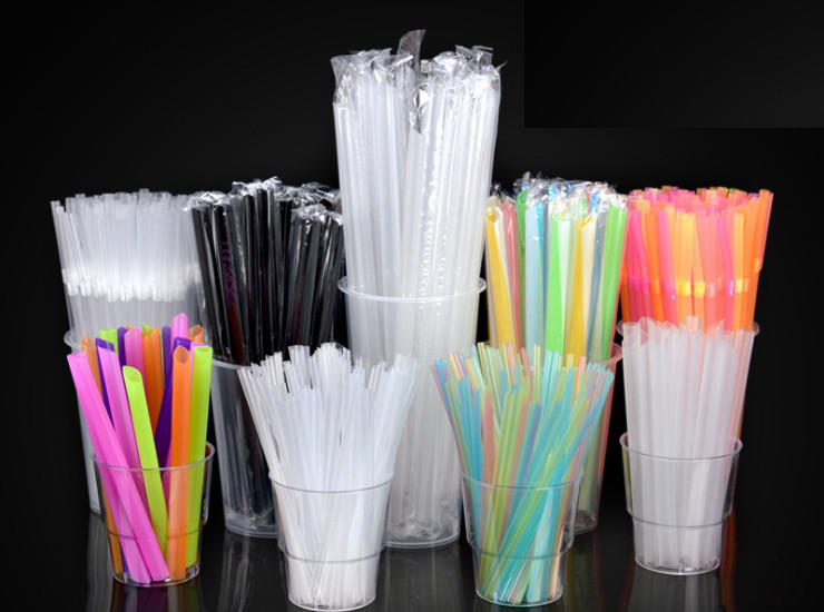 (Box) Secondary Plastic Straws Color Art Straws Beverage Juice Cola Creative Shape Thick Tube Thin Tube (Door Delivery Included)
