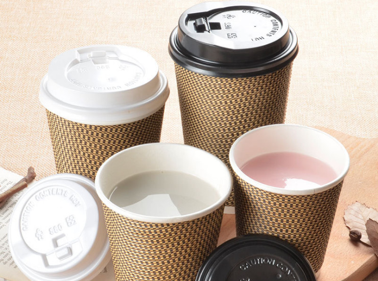 (Box) Small Square Paper Cup Disposable Hot Drink Coffee Cup Double Thick Tea Cup Paper Cups (Door Delivery Included)