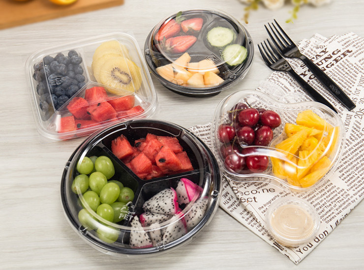 (Box) Three Quarters Fruit Box Three Grid Round Box Disposable Transparent/Black Plastic Fresh Fruit Cut Box (Door Delivery Included)
