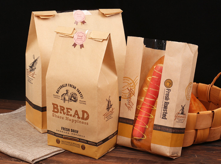 (Box) Wholesale Baking Bread Toast | Window Leaking Environmental Protection Oil Food Kraft Paper Bag (Door Delivery Included)