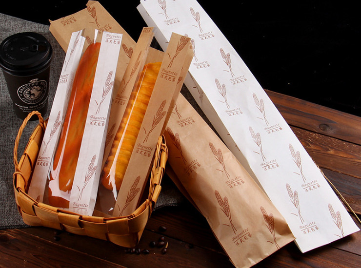 (Box/10 Bundles/500) French Bread Bags Baking West Point Window Paper Bag Law Bag Long Bread Bag Wheat Paper Packaging (Door Delivery Included)
