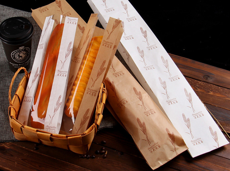 (Box/10 Bundles/500) Short Law Sticks Custom Food Grade French Bread Law Sticks Pastry Bags Disposable Anti-Oil Food Paper Bags (Door Delivery Included)