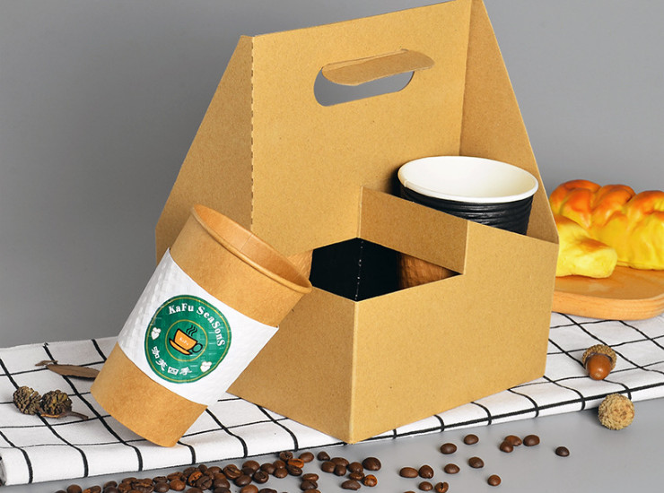(Box/100) Disposable Portable Paper Tray 4 Gava Paper Coffee Milk Tea Cup Package 4 Cups Outside (Door Delivery Included)