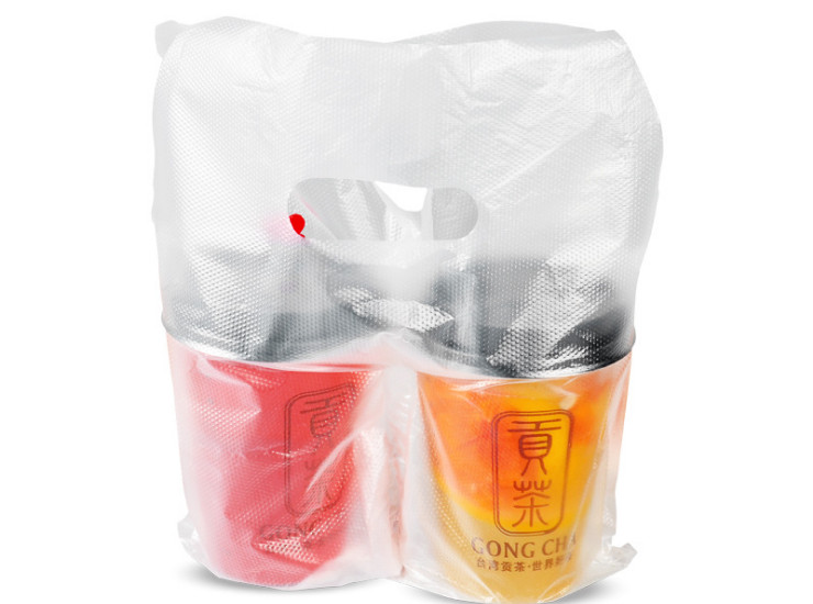 (Box/1000) 2 Cups Of Milk Tea Cup Packaging Bag Disposable Environmental Protection Transparent Juice Cup Drink With Portable Double Cup Plastic Bag (Door Delivery Included)