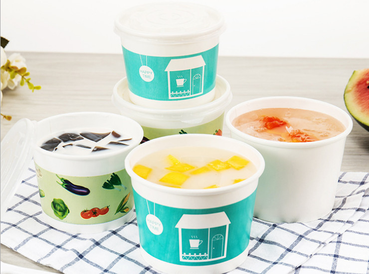 (Box/1000) 390/520Ml Disposable Packaging Paper Soup Ice Cream Bowl Yogurt Bowl Wholesale (Door Delivery Included)