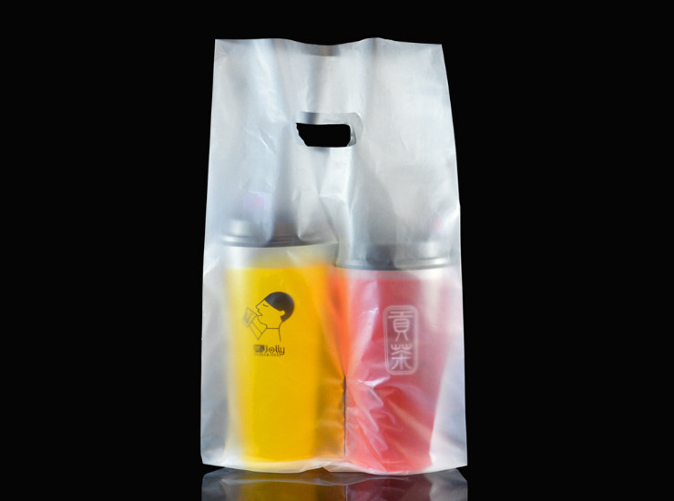 (Box/1000) Couples Double Cup Tea Shop Transparent Takeaway Packing Bag Portable Thickening (Door Delivery Included)