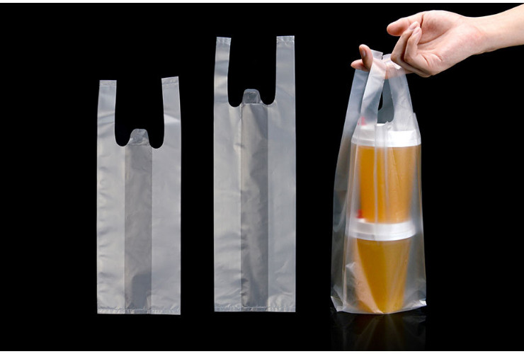 (Box/1000) Disposable Packing Bag Double Cup Single Cup Bag Milk Tea Takeaway Bag Beverage Bag Plastic Bag (Door Delivery Included)