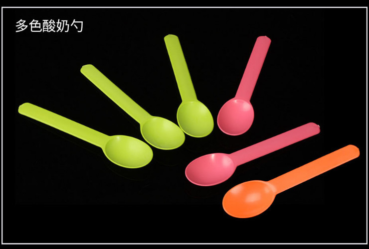 (Box/1000) Disposable Tableware Starch Plastic Dessert Spoon Thickened Color Fruit Yogurt Knife And Fork Spoon (Door Delivery Included)