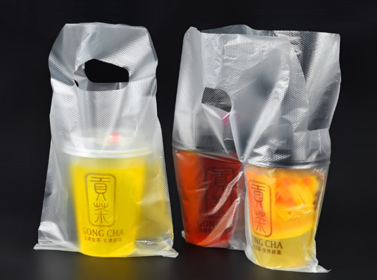 (Box/1000) Milk Tea Packaging Bag Disposable Plastic Transparent B/L Cup Bag Takeaway Juice Cold Drink Two Cups (Door Delivery Included)