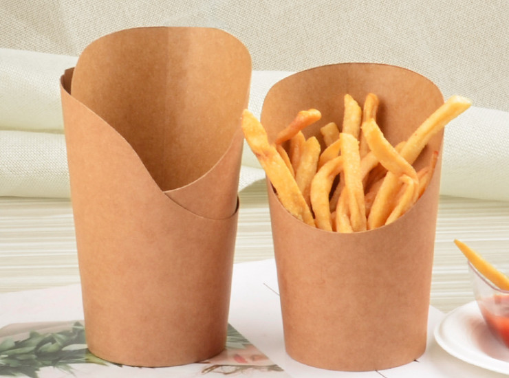 (Box/1000) Oblique Mouth Kraft Paper Cup Disposable 12Oz Fries Cup Egg Ice Cream Fried Chicken Rice Flower Box Full Box (Door Delivery Included)