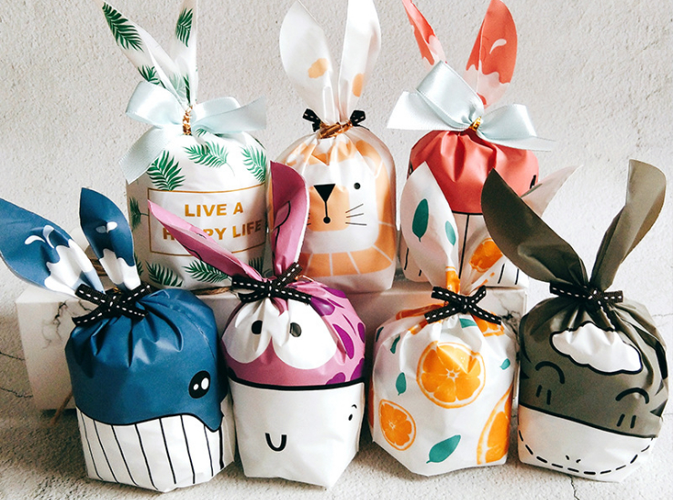 (Box/1000 Pcs) New Mooncake Dessert Baking Bag Cute Long Ear Snowflake Puff Bag Little Rabbit (Door Delivery Included)