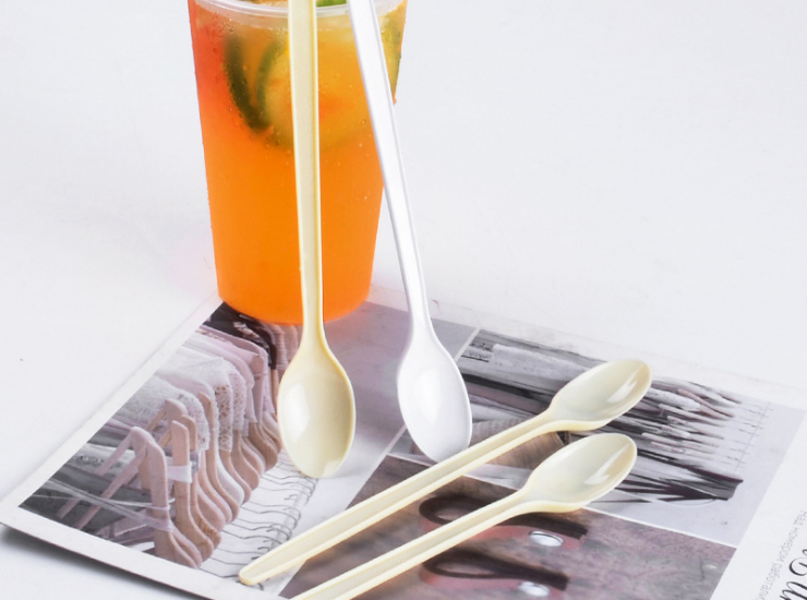(Box/1000 Pcs) Plastic Spoon Disposable Long Handle Spoon Juice Drink Stirring Long Ice More High-Grade Environmentally Friendly Fruit Powder Spoon (Door Delivery Included)