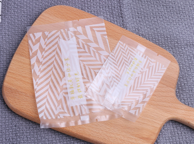 (Box/1000 Pcs) Text Machine Bag White Diagonal Stripe Scrub Snow Flour Bag Cookie Dry Pear Flour Bag Mooncake Bag (Door Delivery Included)