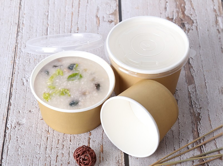 (Box/1000 Sets) 260Ml 440Ml 530Ml Disposable Thickened Paper Bowl Soup Cup Porridge Bowl Dessert Bowl Packing Box With Cover (Door Delivery Included)