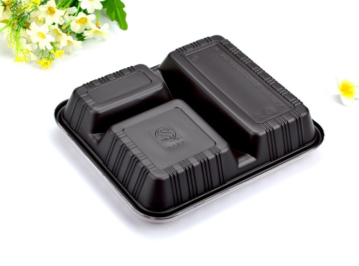 (Box/1000 Sets) Once Lunch Box Black Red Three-Grain Fast Food Box Takeout Lunch Box Plastic Packing Box With Lid (Door Delivery Included)