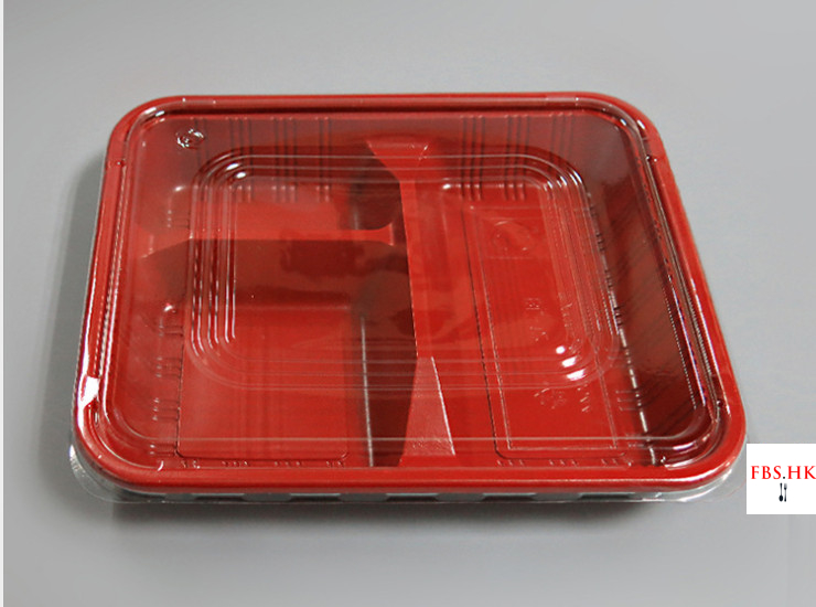 (Box/1000 Sets) Red And Black 3 Grid Lunch Boxes Disposable Red And Black Lunch Boxes Three Grid Plastic Lunch Boxes Thin Cover 800-1000Ml (Door Delivery Included)