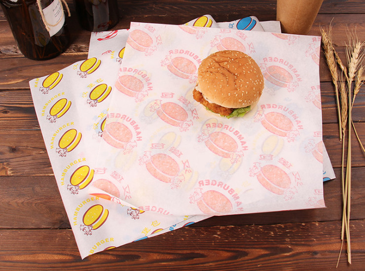 (Box/1000 Sheets) Laminating Paper Burger Paper Anti-Oil Paper Made Of Chicken Roll Burger Paper Custom Laminating Paper Printing Food Laminating Paper (Door Delivery Included)