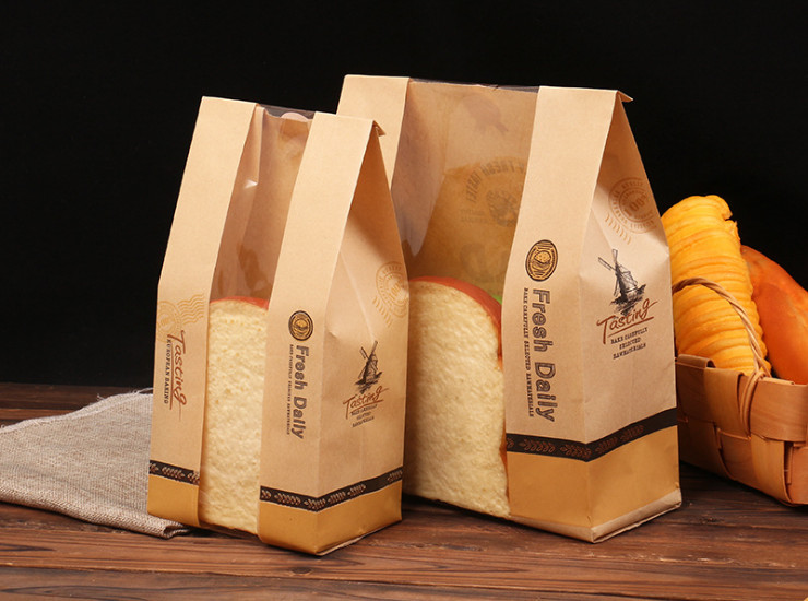 (Box/1000) Toast Transparent Kraft Paper Window Made Of Customized Bags Of Food-Grade Baking Bags West Bags (Door Delivery Included)