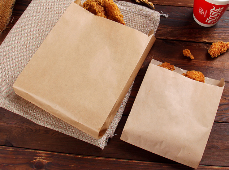 (Box/1000) Wholesale High And Low Mouth Bag Custom Made Kraft Paper Baking Bags Food Packaging Bags Common Meat Folder Steamed Bags (Door Delivery Included)