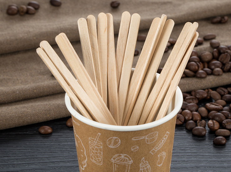 (Box/10000) Disposable Wooden Coffee Stir Sticks Flat Wood Color Mixing Cafe Dedicated Environmental Health No Smell (Door Delivery Included)