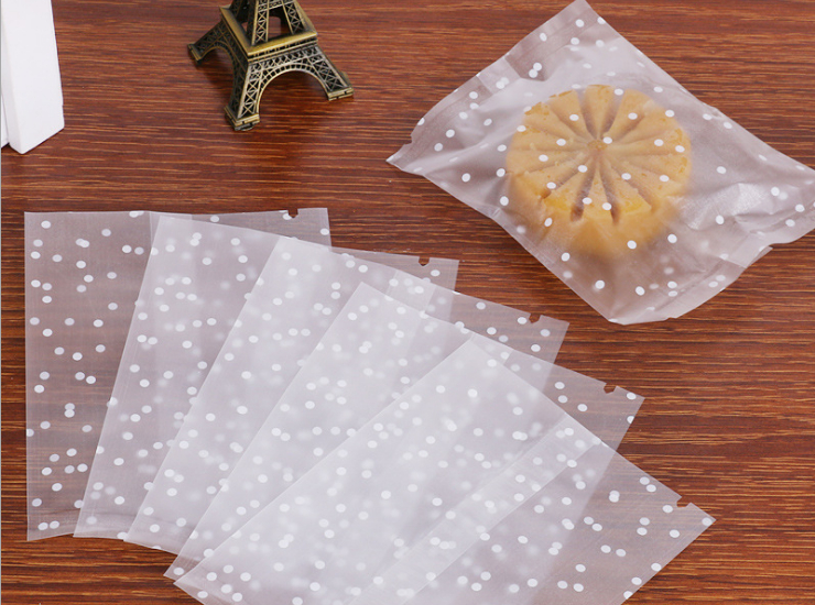 (Box/10000 Pcs) Dot Spot Scrub Semi-transparent Machine Seal Bag Flower Tea Bag Packaging Mooncake Bags Food Delivery Bags (Door Delivery Included)